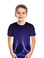 cheap -Kids Boys' Active Street chic Geometric Color Block 3D Short Sleeve Tee Purple