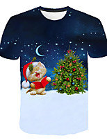 cheap -Kids Boys' Basic Street chic Santa Claus Color Block 3D Christmas Print Short Sleeve Tee Rainbow
