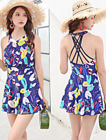 cheap -Women's One Piece Swimsuit Swim Dress Elastane Swimwear Breathable Quick Dry Sleeveless Swimming Water Sports Summer / High Elasticity