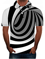 cheap -Men's Daily Going out Street chic / Exaggerated Polo - Color Block / 3D / Graphic Black