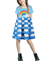 cheap -Kids Girls' Basic Cute Color Block Patchwork Print Short Sleeve Above Knee Dress Light Blue