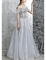 cheap -A-Line High Neck Floor Length Tulle Red / Grey Prom / Formal Evening Dress with Appliques 2020