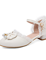 cheap -Women's Heels Chunky Heel Round Toe PU Casual / British Spring & Summer White / Pink / Beige / Party & Evening