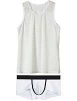 cheap -Men's Mesh Suits Nightwear Color Block Black White S M L