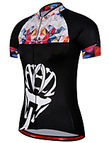 cheap -21Grams Women's Short Sleeve Cycling Jersey 100% Polyester Black / White Plaid / Checkered Bike Jersey Top Mountain Bike MTB Road Bike Cycling UV Resistant Breathable Quick Dry Sports Clothing Apparel