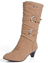 cheap -Women's Boots Low Heel Round Toe Suede Mid-Calf Boots Fall & Winter Yellow / Beige / Gray