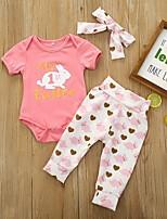 cheap -Baby Girls' Basic Easter Rabbit Print Short Sleeve Regular Clothing Set Blushing Pink / Toddler