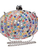 cheap -Women's Crystals Polyester / Alloy Evening Bag Color Block Black / Champagne / Blue