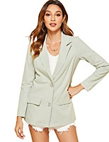 cheap -Women's Blazer, Solid Colored Notch Lapel Polyester Blushing Pink / Green