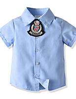cheap -Kids Boys' Basic Solid Colored Short Sleeve Shirt Blue