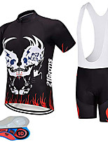 cheap -21Grams Men's Short Sleeve Cycling Jersey with Bib Shorts Black / Red Bike UV Resistant Quick Dry Sports Solid Color Mountain Bike MTB Road Bike Cycling Clothing Apparel / Stretchy