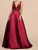 cheap -Ball Gown Sexy Red Wedding Guest Prom Dress V Neck Sleeveless Sweep / Brush Train Satin with Crystals Beading 2020