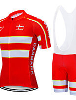 cheap -21Grams Men's Short Sleeve Cycling Jersey with Bib Shorts Red Denmark National Flag Bike Clothing Suit UV Resistant Breathable 3D Pad Quick Dry Sweat-wicking Sports Letter & Number Mountain Bike MTB