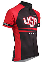 cheap -21Grams Men's Short Sleeve Cycling Jersey 100% Polyester Black / Red American / USA Stars National Flag Bike Jersey Top Mountain Bike MTB Road Bike Cycling UV Resistant Breathable Quick Dry Sports