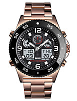 cheap -SKMEI Men's Sport Watch Quartz Modern Style Sporty Stainless Steel Black / Silver / Rose Gold 50 m Calendar / date / day Chronograph Alarm Clock Analog - Digital Outdoor Army - Gold Silver Black One