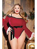 cheap -Women's Lace / Backless / Cut Out Suits Nightwear Jacquard / Solid Colored Red S M L
