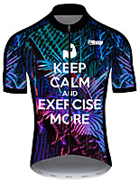 cheap -21Grams Men's Short Sleeve Cycling Jersey 100% Polyester Black / White Novelty Bike Jersey Top Mountain Bike MTB Road Bike Cycling UV Resistant Breathable Quick Dry Sports Clothing Apparel / Stretchy