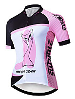 cheap -21Grams Women's Short Sleeve Cycling Jersey 100% Polyester Pink Cat Animal Cartoon Bike Jersey Top Mountain Bike MTB Road Bike Cycling UV Resistant Breathable Quick Dry Sports Clothing Apparel