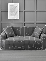 cheap -Grey Check Pattern Brick Print Dustproof All-powerful Slipcovers Stretch Sofa Cover Super Soft Fabric Couch Cover with One Free Pillow Case