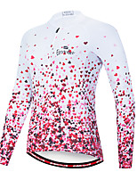 cheap -EVERVOLVE Women's Long Sleeve Cycling Jersey 100% Polyester Terylene Pink Heart Gradient Geometic Bike Jersey Top Mountain Bike MTB Road Bike Cycling Breathable Quick Dry Sports Clothing Apparel