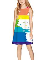 Недорогие -Дети Девочки Классический Симпатичные Стиль Контрастных цветов С принтом Без рукавов Выше колена Платье Цвет радуги