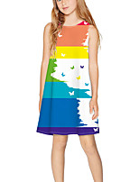 cheap -Kids Girls' Basic Cute Color Block Print Sleeveless Above Knee Dress Rainbow
