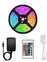 cheap -5m Flexible LED Light Strips / Light Sets / RGB Strip Lights 300 LEDs SMD3528 8mm 1 24Keys Remote Controller / 1 x 2A power adapter 1 set Multi Color Waterproof / Cuttable / Party 12 V