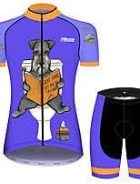 Недорогие -21Grams Жен. С короткими рукавами Велокофты и велошорты Черный / синий С собакой Животное Цветочные ботанический Велоспорт Наборы одежды Дышащий 3D / Слабоэластичная / Быстровысыхающий / 3D-панель