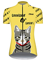 cheap -21Grams Women's Short Sleeve Cycling Jersey Black / Yellow Cat Animal Bike Jersey Top Mountain Bike MTB Road Bike Cycling UV Resistant Breathable Quick Dry Sports Clothing Apparel / Stretchy