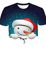 Недорогие -Дети Мальчики Классический Уличный стиль Снеговик Контрастных цветов 3D Радужный С принтом С короткими рукавами Футболка Цвет радуги