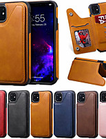 cheap -Case For Apple iPhone 11 / iPhone 11 Pro / iPhone 11 Pro Max Card Holder / Shockproof Back Cover Solid Colored PU Leather