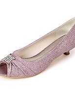 cheap -Women's Wedding Shoes Kitten Heel Peep Toe Rhinestone Synthetics Sweet Spring & Summer White / Champagne / Light Purple / Party & Evening