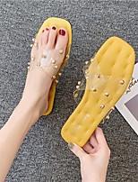 cheap -Women's Sandals Flat Heel Round Toe PU Summer Yellow / Green / Beige
