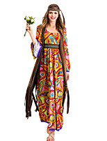 cheap -Hippie Diva Disco 1980s Dress Outfits Vest Headwear Women's Costume Yellow Vintage Cosplay Party Long Sleeve