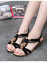 cheap -Women's Sandals Wedge Heel Open Toe PU Summer Black / Beige