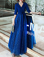cheap -A-Line V Neck Floor Length Spandex / Tulle Glittering / Blue Prom / Formal Evening Dress with Sash / Ribbon 2020