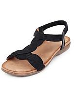 cheap -Women's Sandals Flat Heel Open Toe PU Vintage / Casual Summer Black / Gold / Silver