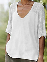 cheap -Women's Daily Blouse - Solid Colored White