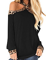 cheap -Women's Daily T-shirt - Leopard / Solid Colored Black