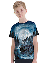 cheap -Kids Boys' Active Punk & Gothic Color Block 3D Animal Short Sleeve Tee Blue