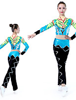 cheap -Cheerleader Costume Gymnastics Suits Women's Girls' Kids Pants / Trousers Spandex High Elasticity Handmade Long Sleeve Competition Dance Rhythmic Gymnastics Gymnastics Green