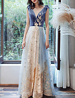 cheap -A-Line Jewel Neck Floor Length Tulle / Velvet Glittering / Blue Prom / Formal Evening Dress with Sequin / Appliques 2020
