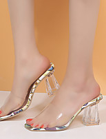cheap -Women's Sandals Transparent Shoes Crystal Heel Peep Toe PU Minimalism Spring & Summer Dark Red / White / Purple / White / Green / Color Block