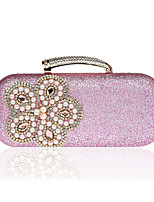 cheap -Women's Crystals / Flower Polyester Evening Bag Floral Print Black / Blushing Pink / Gold