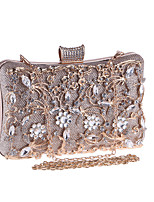 cheap -Women's Crystals / Hollow-out Polyester Evening Bag Solid Color Black / Champagne / Silver