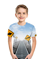 cheap -Kids Boys' Active Street chic Print Patchwork Print Short Sleeve Tee Light Blue