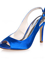 cheap -Women's Wedding Shoes Stiletto Heel Peep Toe Buckle Satin Minimalism Spring & Summer Black / White / Purple / Party & Evening