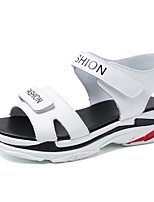 cheap -Women's Sandals Low Heel Round Toe Cowhide Casual Walking Shoes Spring & Summer Black / White