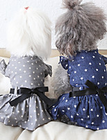 cheap -Dog Costume Dress Dog Clothes Breathable Blue Gray Costume Beagle Bichon Frise Chihuahua Fabric Bowknot Stars Casual / Sporty Cute XS S M L XL