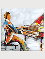 cheap -Hand Painted Canvas Oilpainting Abstract People Playing Piano by Knife Home Decoration with Frame Painting Ready to Hang